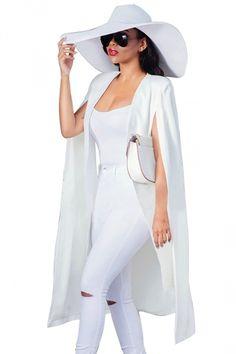Spring and Autumn Fashion New Women Sleeveless Jacket Open Stitch Long Clothing Thin Outwear Casual Elegant Ladies Party Coat – Moda White Outfits, Classy Outfits, All White Outfit, Teen Outfits, Modern Outfits, Sleeveless Outfit, Sleeveless Jacket, Fashion Outfits, Womens Fashion