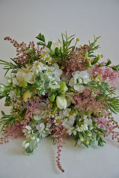 'just picked' wedding bouquet, Stocks, Freesia, Daisy, Astilbe and Rosemary.