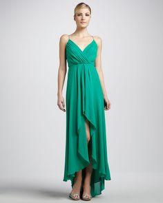Nicole Miller  V-Neck Chiffon Gown