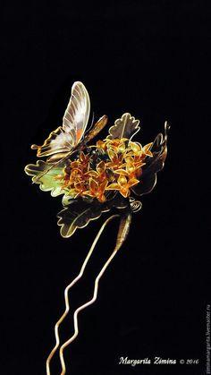 Купить Каланхоэ. Шпилька для украшения прически. - оранжевый, яркий, зеленый, зелень, золотой, проволока, смола Exquisite Wire and Resin Kanzashi Flower Hair Jewelry.