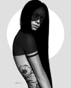 Laura H. Rubin is a digital artist and illustrator based in Bern Switzerland. For more view website. Digital Art Girl, Digital Portrait, Portrait Art, Tattoo Foto, Tatoo Art, Dark Fantasy Art, Dark Art, Foto 3d, Photo Repair