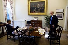 West Wing Dining Room Obama and Vice President Joe Biden have lunch in the Private Dining Room, Nov. 5, 2009.