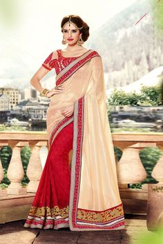 Cream and Maroon Satin Designer Saree