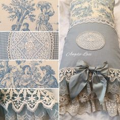 Toile large pillow