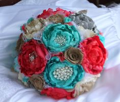 Ivory Coral turquoise aqua grey and burlap by CraftyFrills on Etsy, $250.00