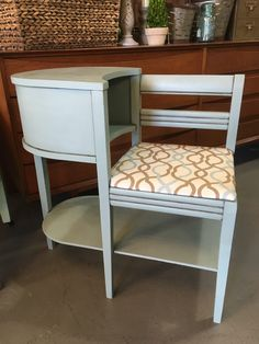 This adorable vintage phone table is painted with Chalk Paint® by Annie Sloan in Duck Egg Blue, sealed with Clear Chalk Paint® Wax, and Black Chalk Paint® Wax in the details!