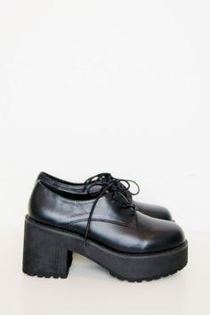 Leather Chunky Heel Brogue Black £80.