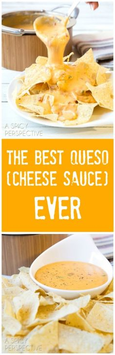 The BEST Queso (Cheese Sauce) Ever on ASpicyPerspective.com #nachos #queso
