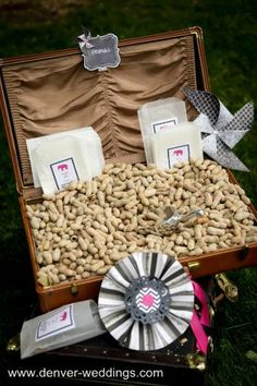 vintage circus wedding - cocktail hour peanuts display