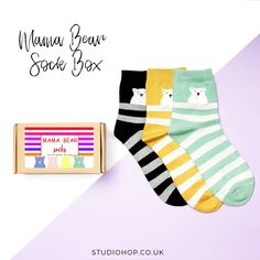 We've got some really cute additions to our 'box of socks' range... these little Mama Bear socks make a perfect gift for whoever is the Mama in your life!   They're available to buy now from our @notonthehighstreet shop. Just search for Studio Hop.  #mamabear #snazzysocks #giftsforher