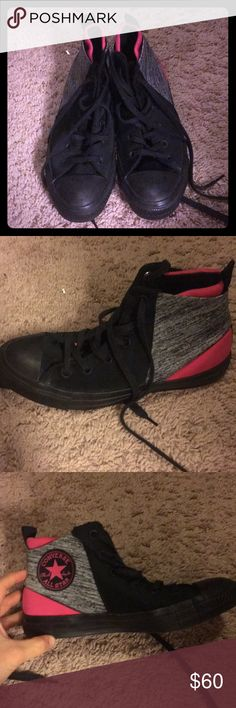 Black, Heather Grey and Hot Pink converse Worn 1 or 2 times, Like new Converse Shoes Athletic Shoes