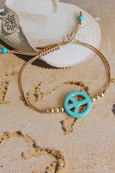 Turquoise Peace sing bracelet, adjustable cord bracelet #peacesingbracelet #hippiejewelry #bohojewelry #bohoturquoise #summerjewelry Summer Bracelets, Summer Jewelry, Birthday Gifts For Women, Gifts For Wife, Etsy Jewelry, Handmade Jewelry, Handmade Gifts, Hippie Styles, Hippie Jewelry