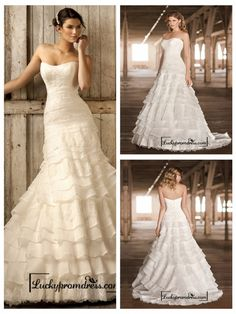 Strapless A-line Scoop Neckline Tiered Ruffled Vintage Wedding Dresses