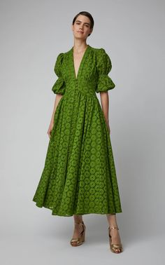 Cult Gaia Willow Cotton Lace Maxi Dress Click product to zoom Casual Dresses, Fashion Dresses, Summer Dresses, Maxi Dresses, Green Dress Casual, 1950s Dresses, Vintage Dresses, Mode Boho, Mode Outfits