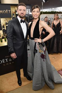 Inside the Golden Globes: Justin Timberlake and Jessica Biel in Elie Saab Golden Globe Award, Golden Globes, Celebrity Couples, Celebrity Style, Jessica Biel And Justin, Feminine Style, Feminine Fashion, Red Carpet Looks, Celebs
