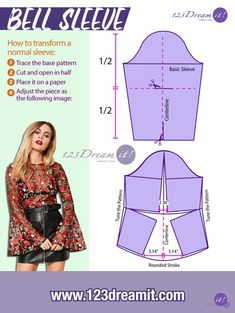 Learn how to transform a basic sleeve pattern into a bell sleeve. Quick and easy! How to transform a normal sleeve: Trace the base pattern Cut and open in half Place it on a paper Adjust…More Fashion Sewing, Diy Fashion, Ideias Fashion, Fashion Outfits, Sleeves Designs For Dresses, Sleeve Designs, Dress Sewing Patterns, Clothing Patterns, Blouse Patterns