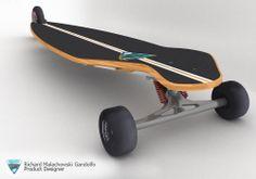 Eu ia adorar dar um rolê nesse lonboard conceito de 3 rodas!