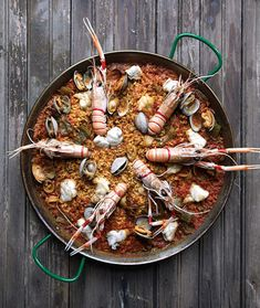 Fisherman's Paella (Paella a la Marinera) This recipe hails from coastal Spain and calls for a plethora of seafood. Ask your fishmonger for the freshest langoustines or head-on shrimp available. Spanish Cuisine, Spanish Dishes, Spanish Food, Spanish Art, Spanish Recipes, Seafood Recipes, Cooking Recipes, Easy Recipes, Gourmet