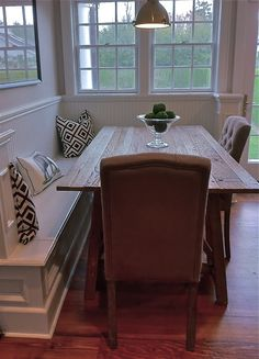 "Reverse the ""L"" for ours. Nice look with farm table and windows - use different chair style."
