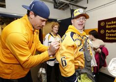 Preds stars Shea Weber and Pekka Rinne asked Maguire if they could be his Best Buddies. #Predators
