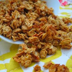 peanut butter granola - simple and easy w/ only 5 ingredients: oats, pb, honey, cinnamon, vanilla, bake at 325, done..a healthy snack!