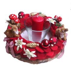 Adventskranz Alpenstil rot von Claudia`s Geschenkparadies auf DaWanda.com