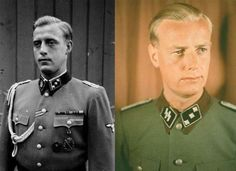 Hitler's SS adjutants: Otto Gunsche (B and W photo) and Hans Herman Junge. Gunsche survived the war, was imprisoned by the Russians, but returned to Germany in the mid 1950s. He died in 2003; to the very last day he kept portraits of Hitler and Eva Braun on his desk, surrounded by flowers. Junge, who married one of Hitler's secretaries, was killed in Normandy in 1944.