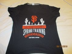 c6d703a9 San Francisco Giants Black Women's Spring Training Cap Sleeve XL T-Shirt # sfgiants #