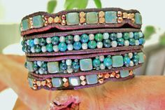 Bronzed Turquoise 4 Wrap Leather Bracelet with Blue Green Azurite, CzechMates Tiles & Fire Polished Beads, faceted bronze beads and Button