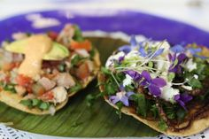 A tostada topped with edible flowers from Nicos, a Mexico City restaurant. Pinned from www.themijachronicles.com