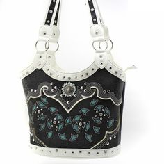 This is a gorgeous purse with laser-etched cutout details. It has beautiful colors with double handles and top zipper closure.  It also has gorgeous rhinestone studded accents that add a pop of bling that every woman loves.  BLACK & TURQUOISE FLORAL CUTOUT RHINESTONE STUDDED BUCKET PURSE $49.99 www.nanascountryrusticshop.com www.facebook.com/nanascountryrusticshop #chic #rhinestone #floral #purse #handbag #nanascountryrusticshop #shopping #fashion #rustic