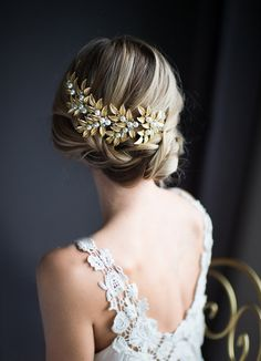 Gold Boho Hair Vine, Laurel Leaves Bridal Large Hair Comb,Wedding Gold Pearl Hair Wreath, Bohemian Grecian Wedding Headpiece - 'ODESSA'