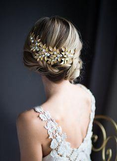 Gold Boho Hair Vine, Laurel Leaves Bridal Large Hair Comb,Wedding Gold Pearl Hair Wreath, Bohemian Grecian Wedding Headpiece - 'ODESSA'