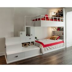 Choosing The Right Bunk Beds With Stairs For Your Children ❤ liked on Polyvore