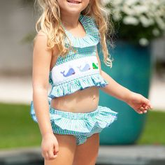 The Girls Nantucket Whale Bathing Suit is a two-piece classic bathing suit in blue and green gingham features custom whale smocking. Cute Bathing Suits, Kids Swimwear, Cute Swimsuits, Nantucket, Gingham, Super Cute, Sexy, Whale Watching, Buttons