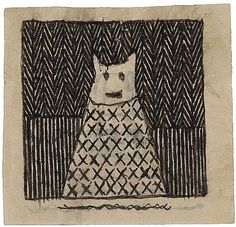 James Castle (1899-1977), (self-taught outsider art), found paper and soot