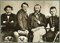 """The four Tolstoy brothers. Left to right: Sergei, Nikolai, Dmitri, Lev (aka Leo) Nikolayevich Tolstoy 1854 
