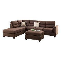 Functional style is defined with this 3-piece sectional sofa set that includes a large seating space,  double tiered pillow cushion back support and arm rest trimmed in nickel finished studs. It also features a reversible chaise and accent cocktail ottoman with matching stud trim.