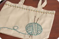 knit project bags | My new knitting bag. My yarn embroidered knitting bag. I am pretty ...