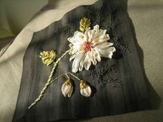fleurs tissu noir