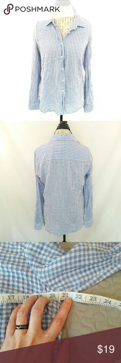 Plaid long sleeve shirt by J. Crew Very cute blue and white button down shirt to wear with your favorite jeans. Measurements provided in pics above. From a smoke and pet free home. Very fast shipping. Office - Vacation - Wedding - Fun - Dress up - date night - cruise - fall - winter *IF YOU LIKE MY ITEMS, please FOLLOW ME to see NEW ARRIVALS that are added weekly! * J. Crew Factory Tops Button Down Shirts