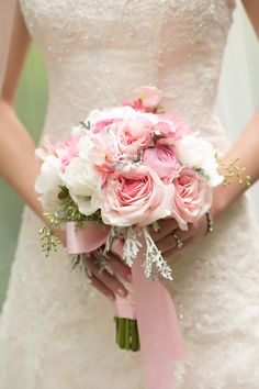 Soft pink bridal bouquet ... looks like it was just picked from the garden and tied with a satin ribbon