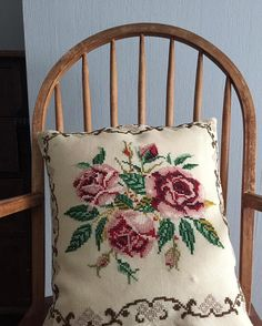 Embroidered Pillow Case Pillow Cover Vintage Roses Embroidery Pillow Cushion Sham Norwegian Embroidery Throw Pillow Case DIY Craft Project