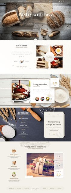 A free PSD one page website template for bakeries designed and released by Malte Westedt, UI designer from Germany.