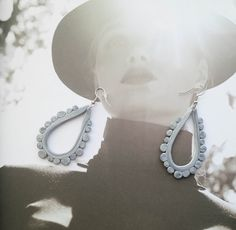Grey Earrings in Drop shape - Fimo Clay