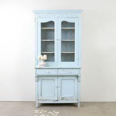 Teal Glass Door Cabinet