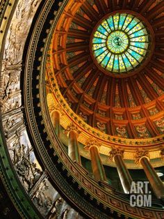 Interior of Rotunda of State Capitol Building, Springfield, United States of America Photographic Print by Richard Cummins at Art.com