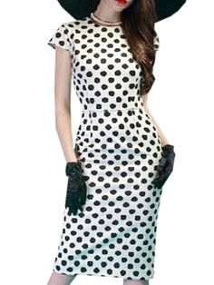 Image of Absorbing Polka Dot Round Neck With Zips Bodycon-dress
