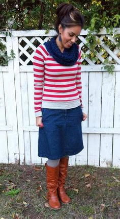Navy infinity scarf, red striped sweater, jean skirt, gray tights, brown boots