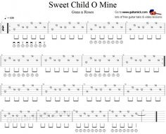 Learn to play here with free tablature and video tutorial the main electric guitar riff of Sweet Child O' Mine song by Guns n Roses. Tablature and chords. Guitar Tabs And Chords, Easy Guitar Tabs, Guitar Tabs Songs, Music Tabs, Simple Guitar, Ukulele Tabs, Music Songs, Basic Guitar Lessons, Electric Guitar Lessons